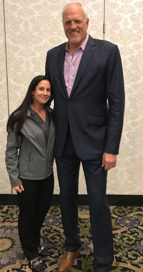 Ortho coordinator with 2018 Medical Education Day guest speaker, Mark Eaton.
