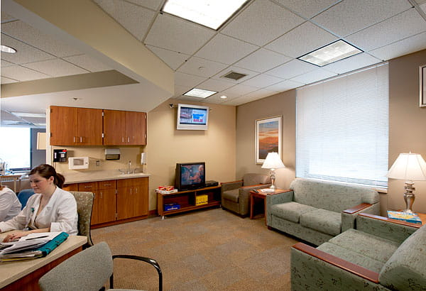 Patient lounge at UPMC Montefiore Inpatient Rehab