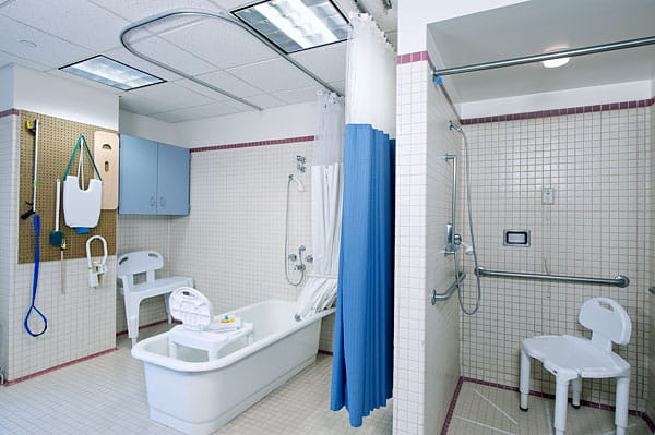 Patient bathroom at UPMC Montefiore Inpatient Rehab