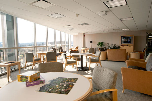 Patient and family lounge at UPMC Passavant Inpatient Rehab
