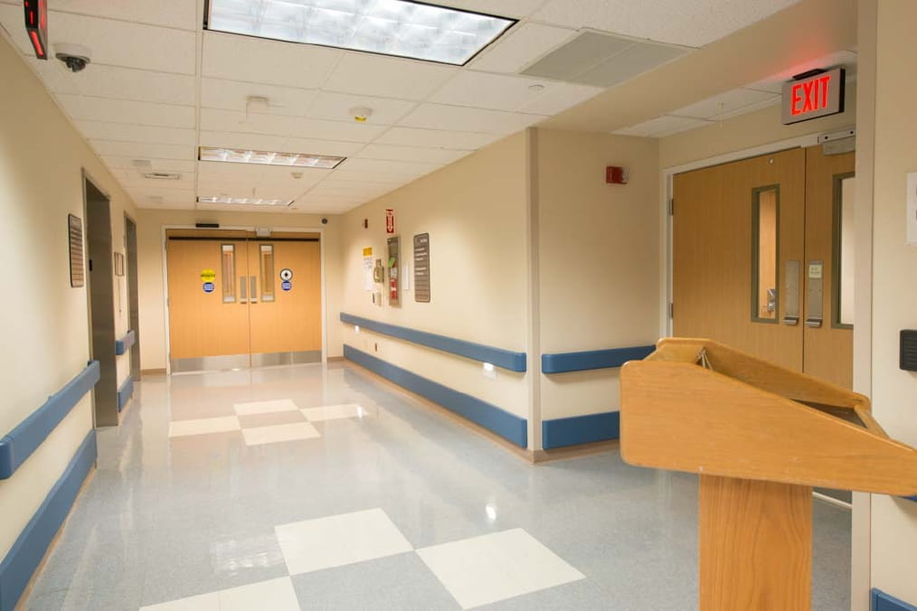 The mother-baby unit is located on the third floor of UPMC Horizon–Shenango Valley. After getting off the elevator, you will be in the corridor outside of the unit. Because this is a secure unit, all visitors must check in at the intercom on the wall (located to the right of the doors at the end of the corridor) to request entry.