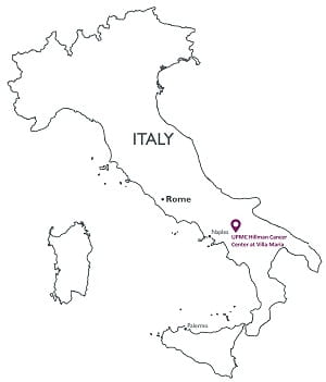 Map of Italy showing location of UPMC Hillman Cancer Center at Villa Maria east of Naples.