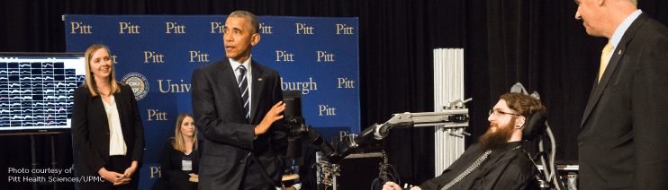 President Obama Fist Bump with UPMC BCI Patient